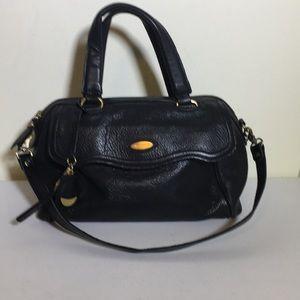Tahari black leather satchel